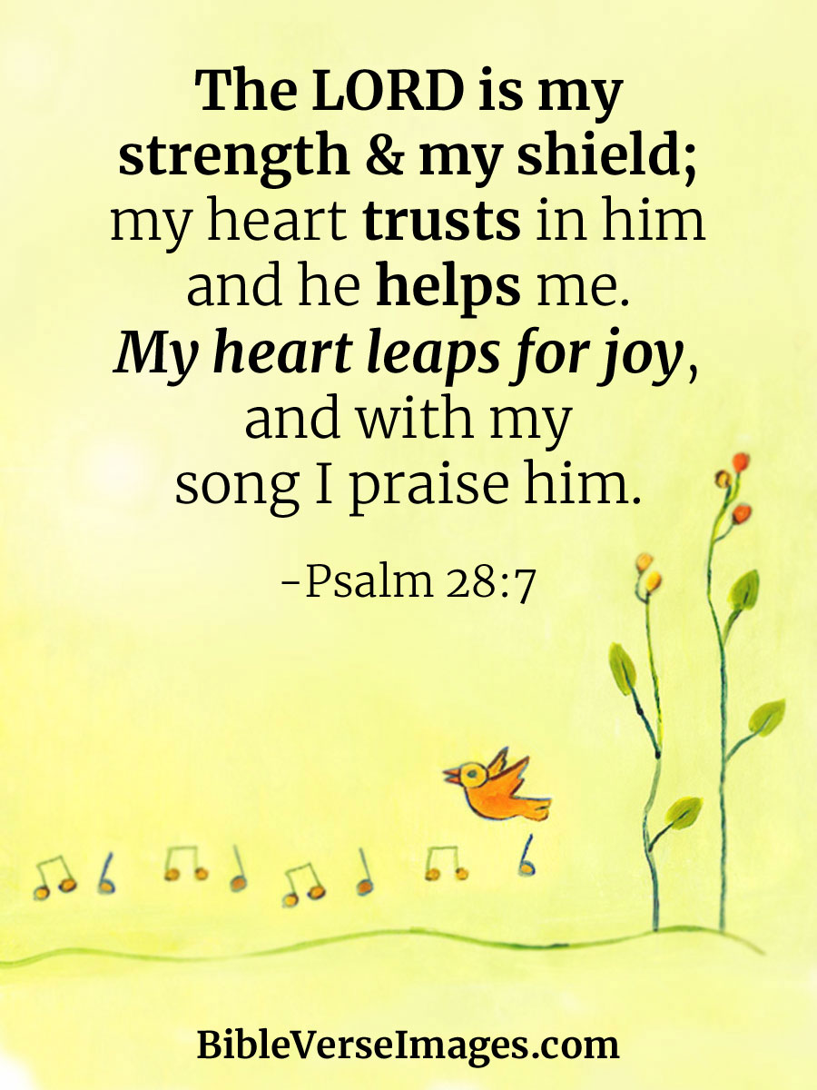 Bible Verse about Joy - Psalm 28:7