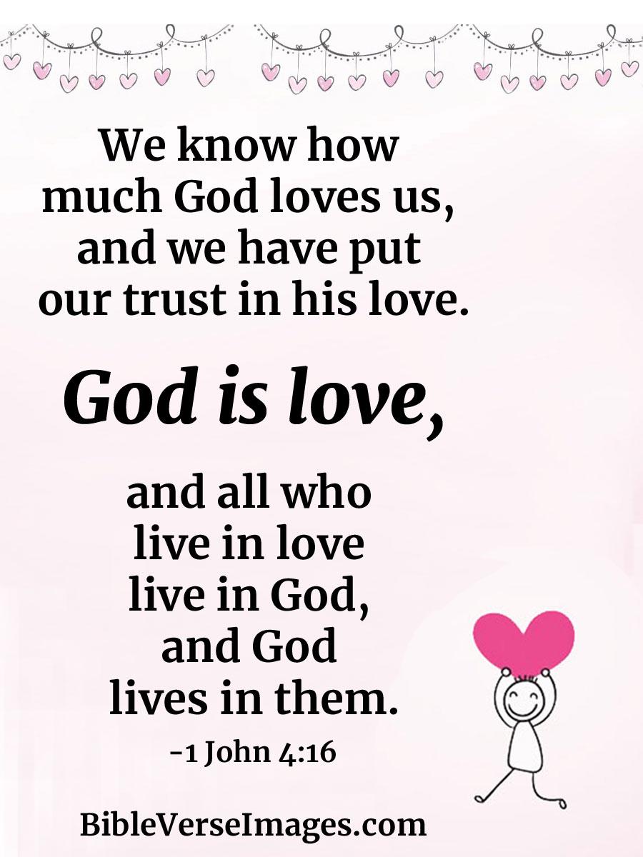 1 John 4:16 - Bible Verse about Love - Bible Verse Images