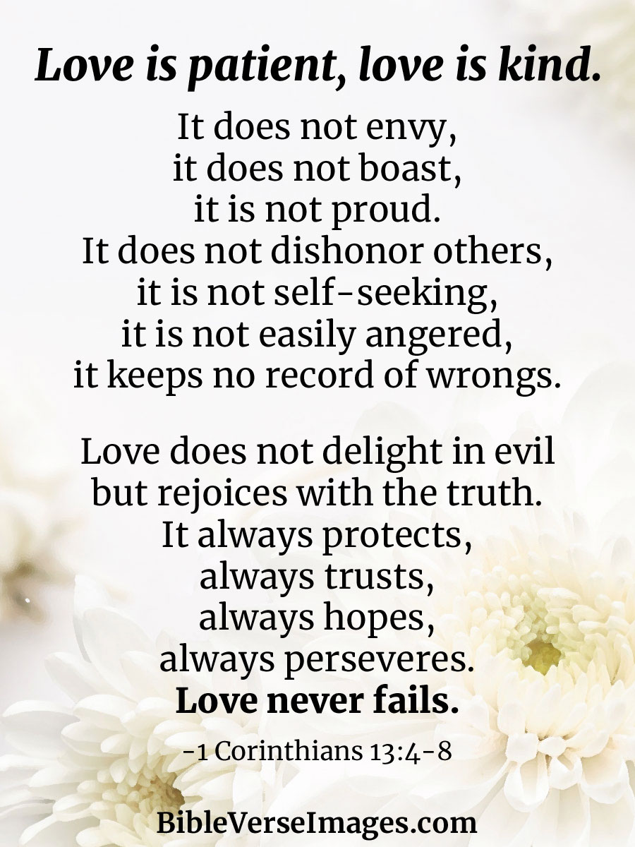 1 Corinthians 13:4-8 - Bible Verse about Marriage - Bible Verse Images